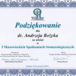 Andrzej Bożyk Ceryfikat