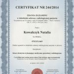 Natalia Kowalczyk-Zuchora certyfikat